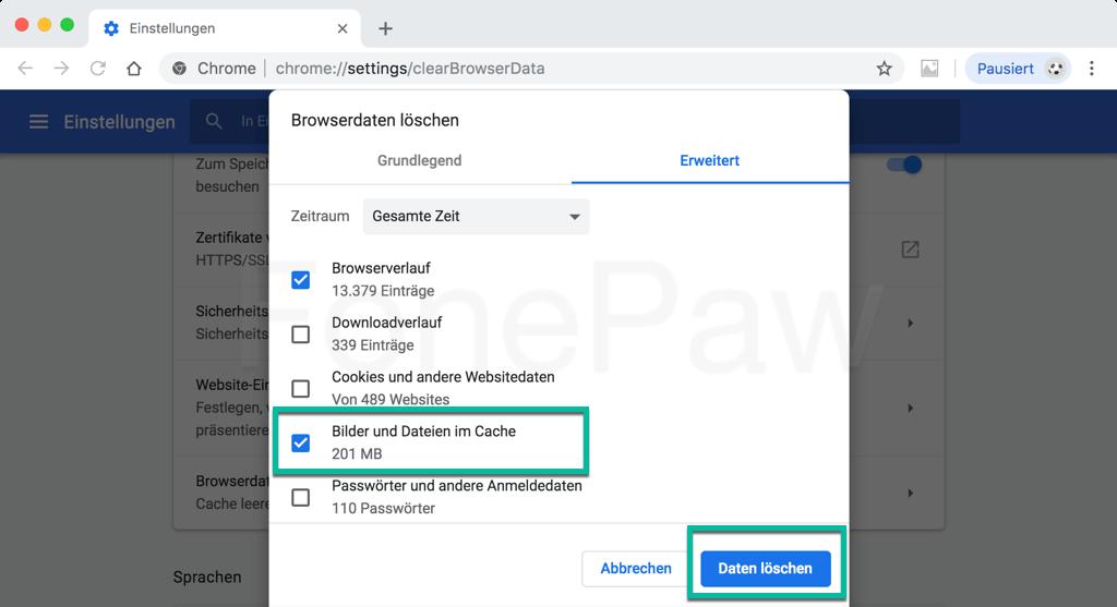 Browser Cache in Google Chrome leeren