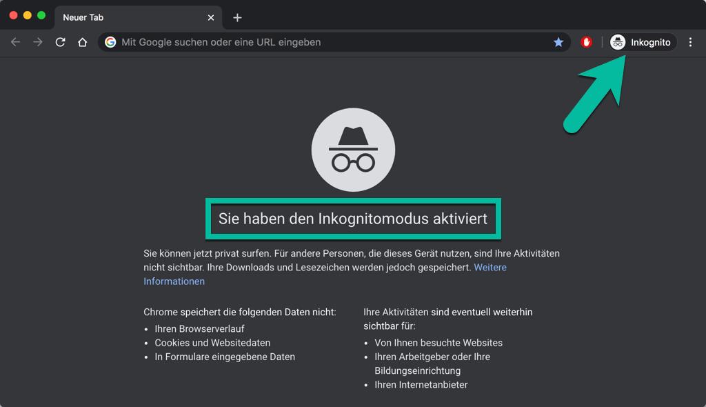 Chrome Inkognitomodus aktiviert