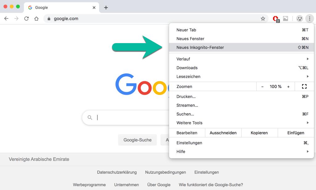 Chrome Neues Inkognito Fenster