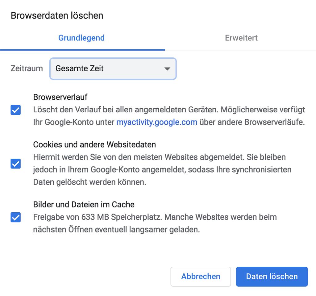 Chrome-Verlauf löschen Mac