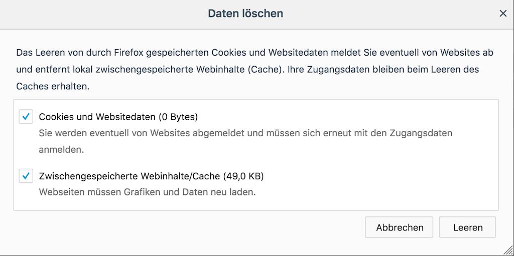 Firefox Cookies löschen