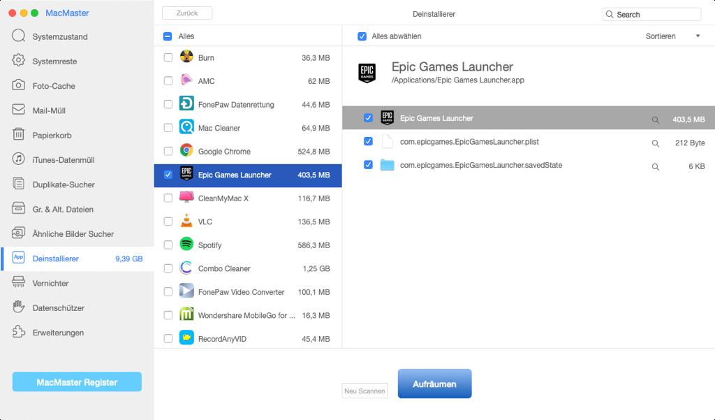 Fortnite und Epic Game Launcher deinstallieren Mac