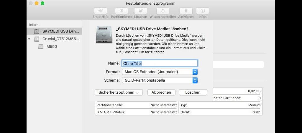 Festplatte auf Mac löschen