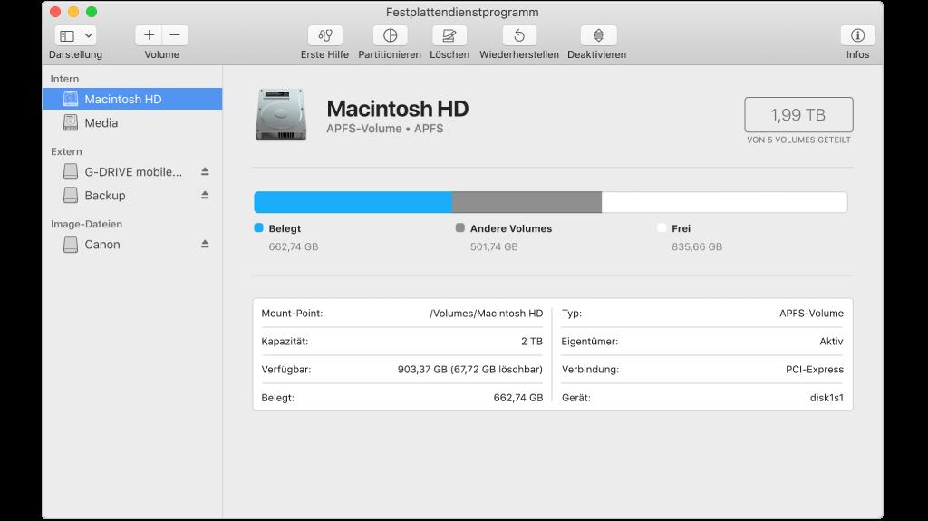 Mac Festplatte zum Löschen auswählen