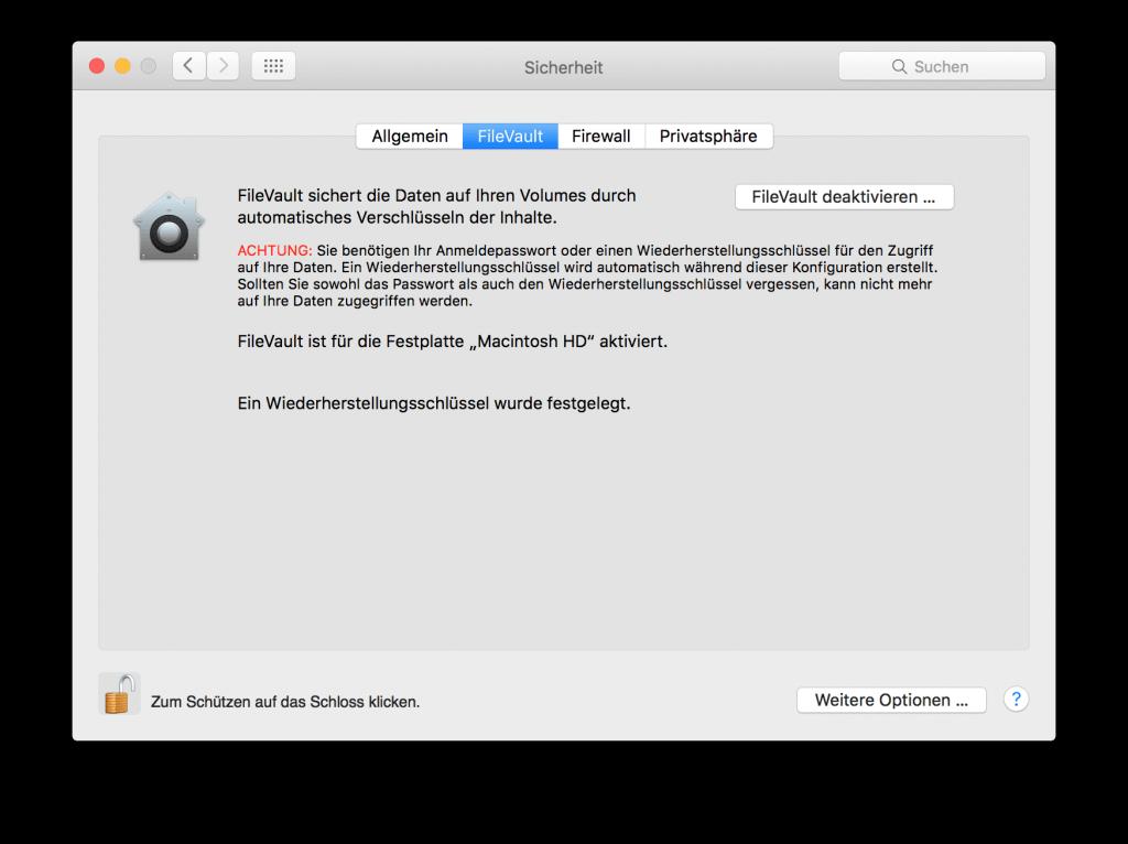 FileValut auf Mac deaktivieren