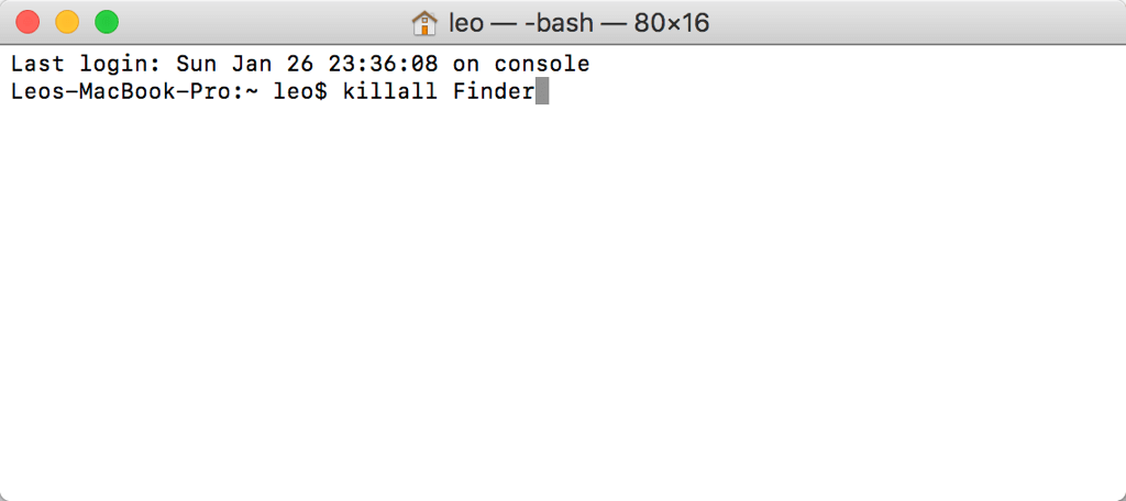 killall Finder Befehl in Terminal
