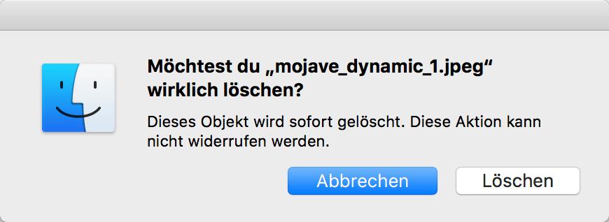 Fotos auf dem Mac sofort löschen