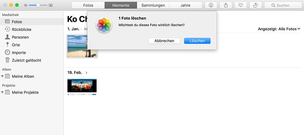Fotos auf Mac löschen