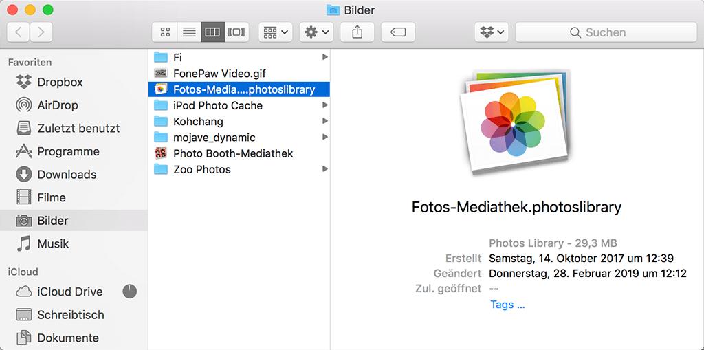 Foto-Mediathek auf Mac löschen