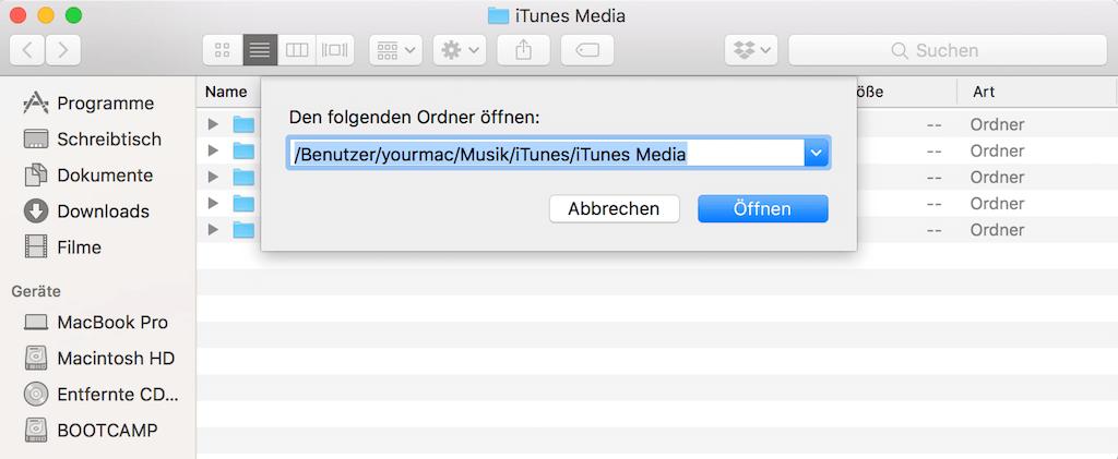 iTunes Media Ordner