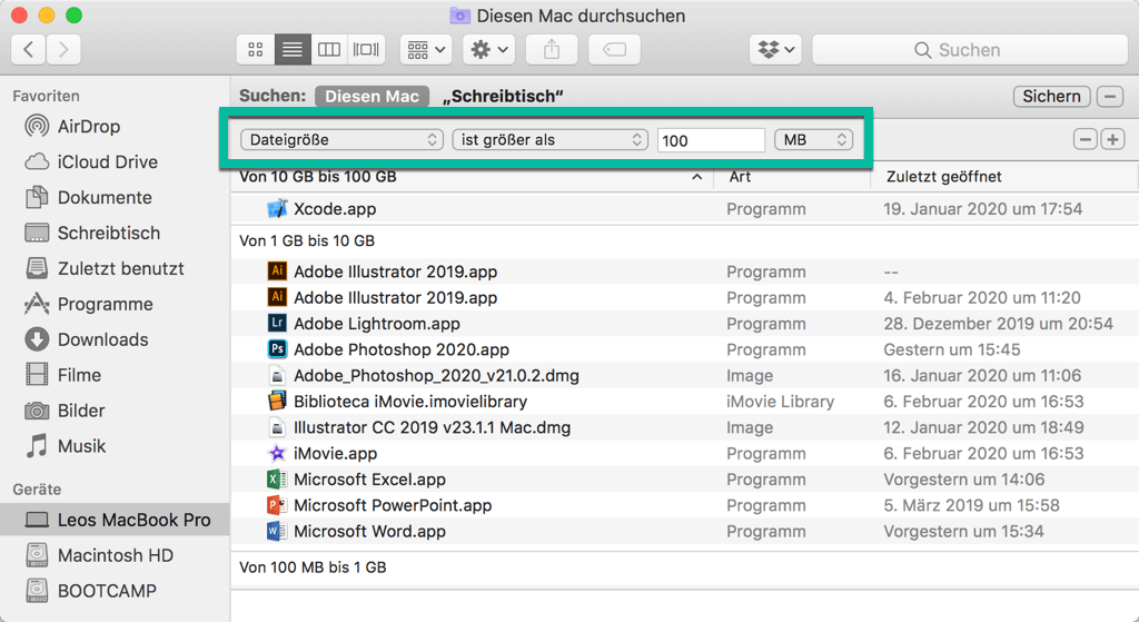 Mac große Dateien suchen in Finder