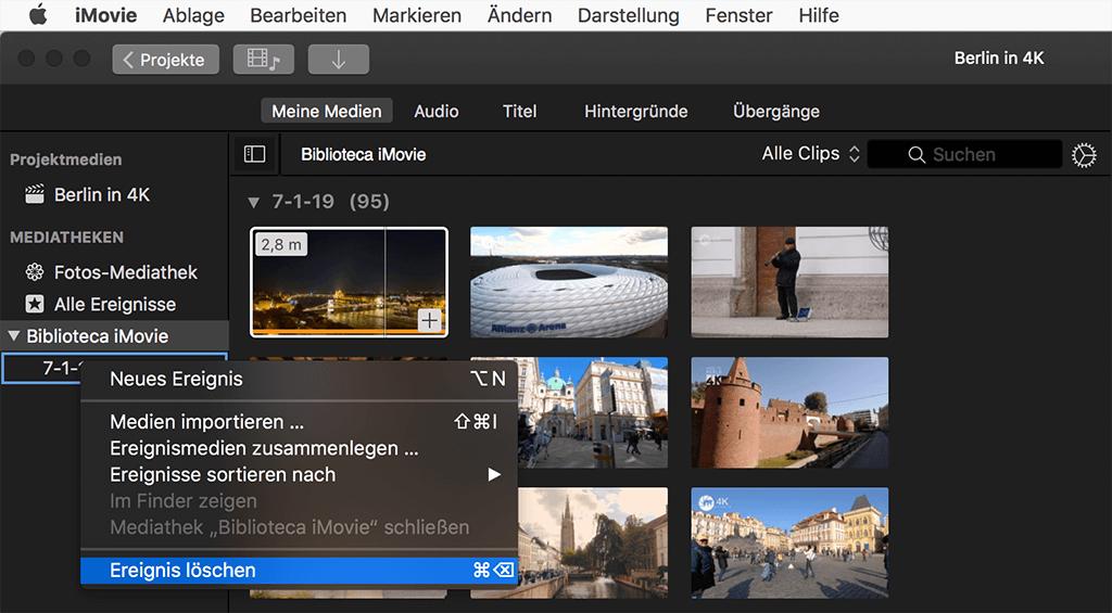 iMovie-Ereignis löschen