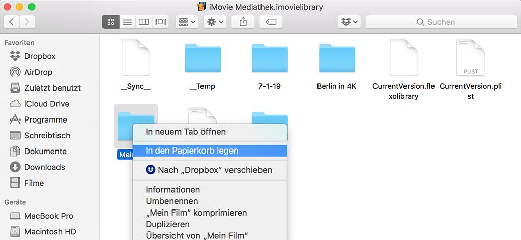 iMovie-Mediathek löschen