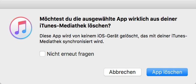 iTunes App löschen Bestätigung