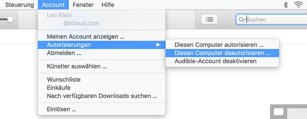 iTunes auf Mac deautorisieren