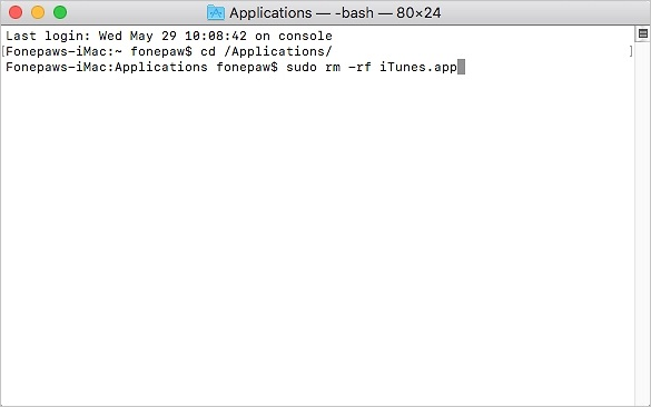 iTunes deinstallieren mit Terminal