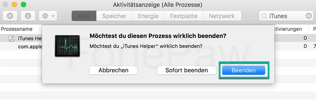 iTunes Helper beenden