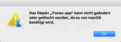 iTunes kann nicht geändert oder gelöscht werden