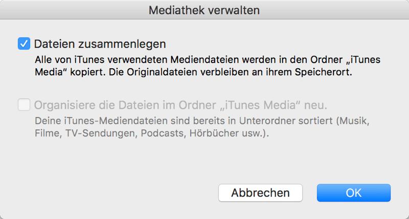 iTunes Mediathek Dateien zusammenlegen