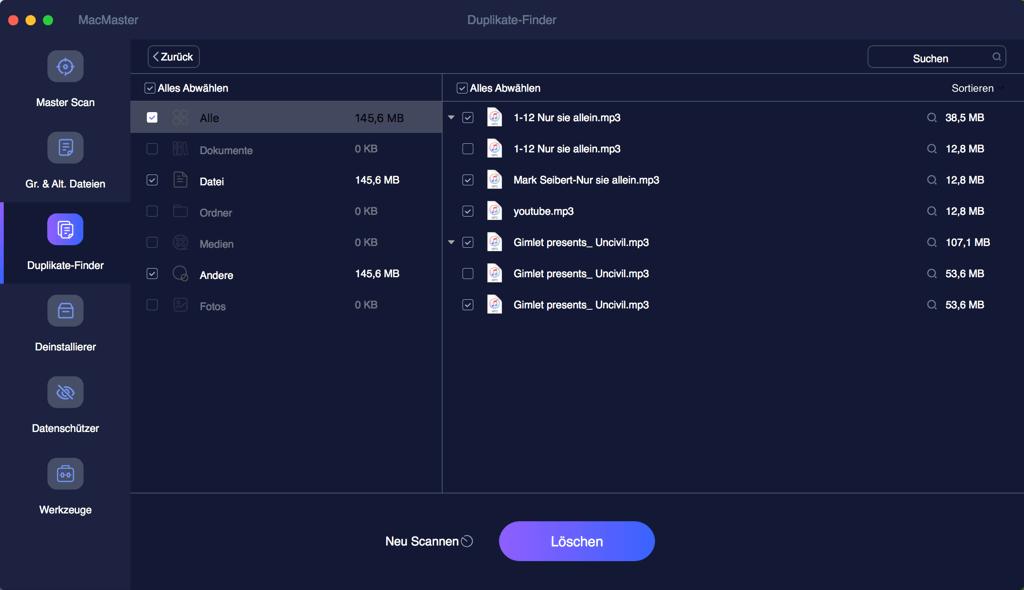 Mac doppelte Musikdateien finden und überprüfen