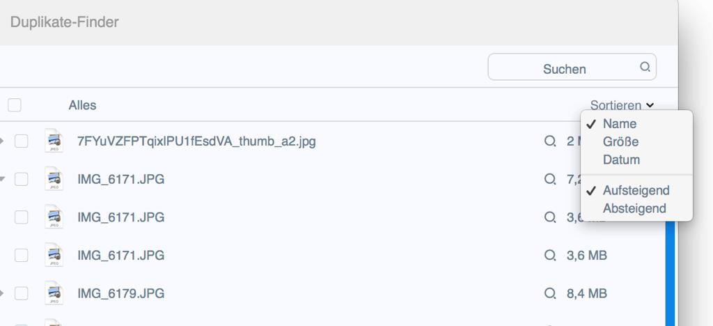 Mac Duplikate Finder sortieren nach
