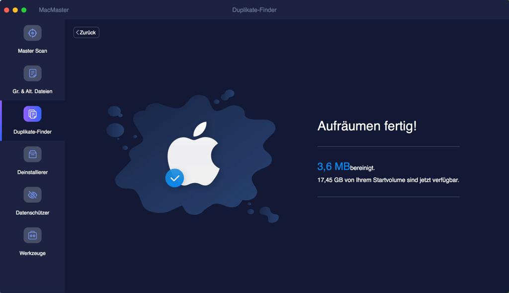 Mac doppelte Musikdateien feritig gelöscht