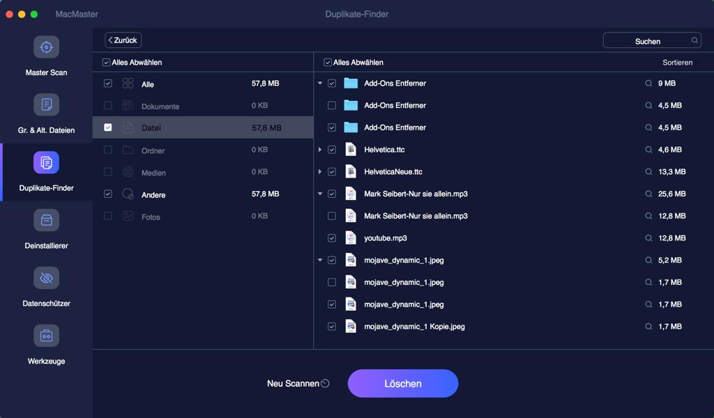 Mac doppelte Dateien löschen