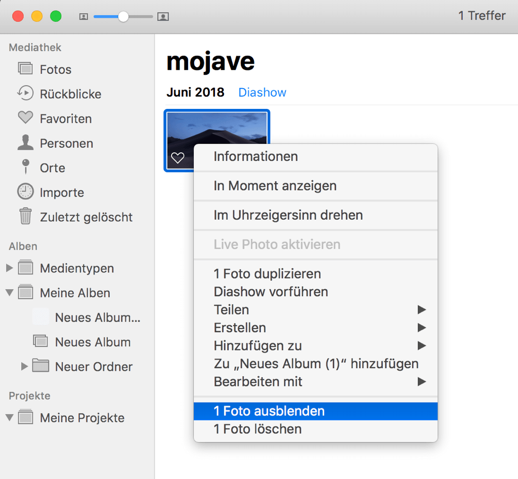 Mac Fotos ausblenden