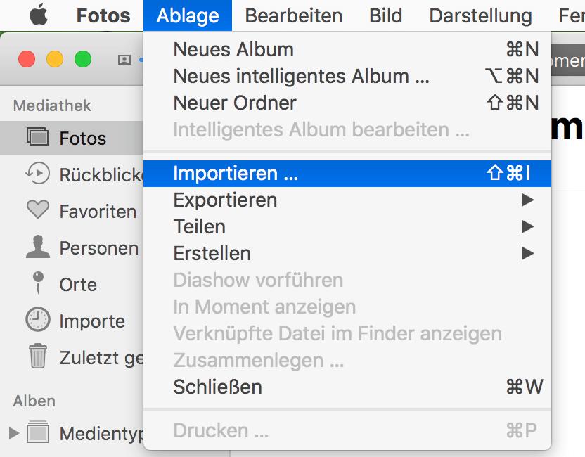 Mac Fotos importieren