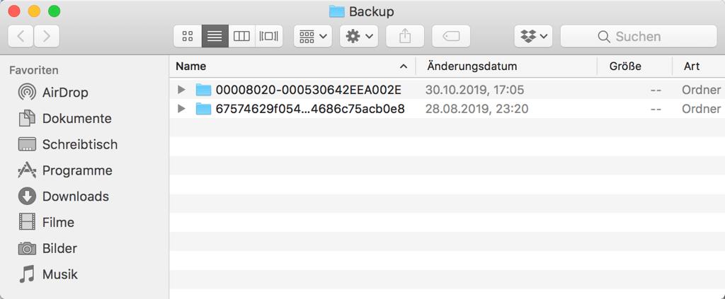 iTunes Backup auf Mac