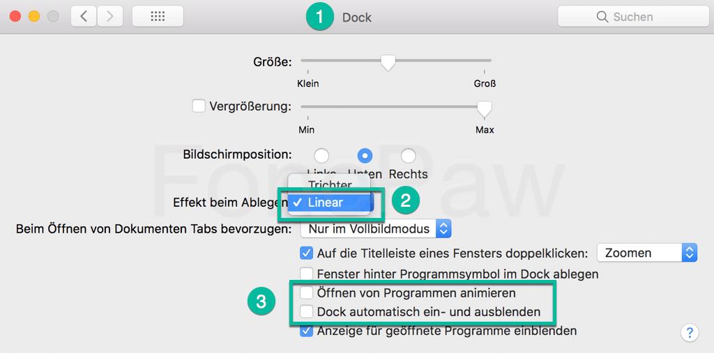 Mac Dock Animation reduzieren