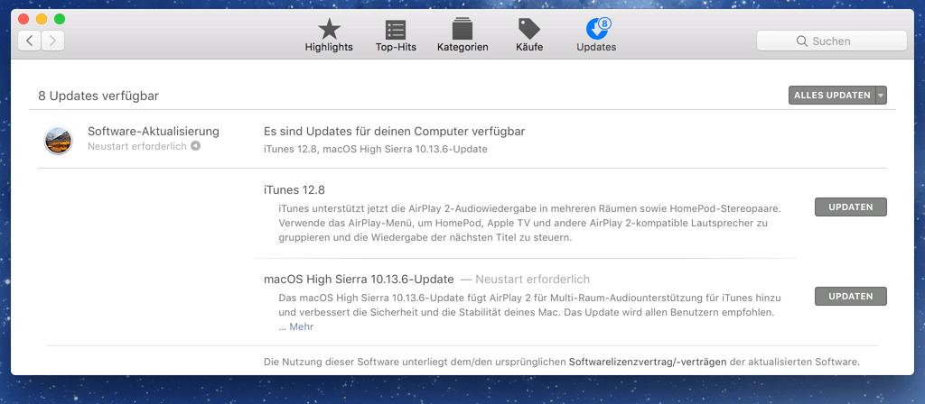 macOS Update ausführen