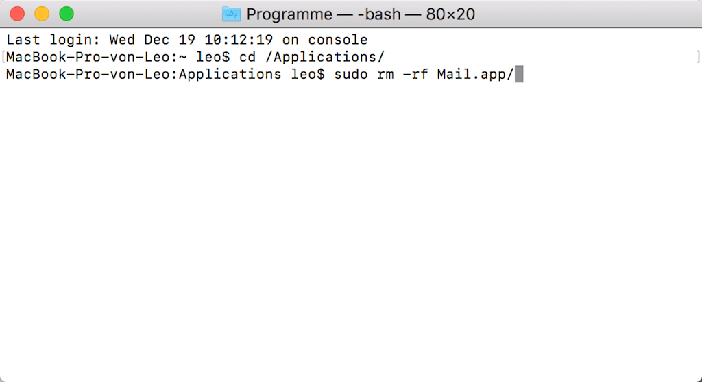 Die Mail App auf Mac löschen