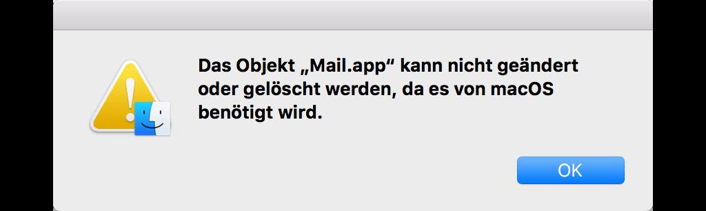 Mail-App kann nicht gelöscht werden