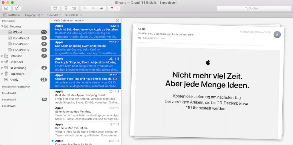Mehrer E-Mails auf dem Mac löschen