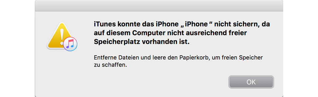 Nicht ausreichend freier Speicherplatz auf dem Mac
