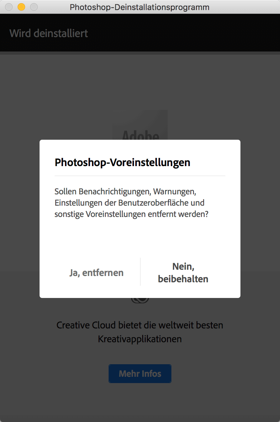 Photoshop Deinstallationsprogramm