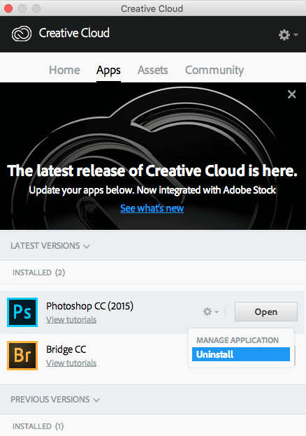 Photoshop deinstallieren in Creative Cloud