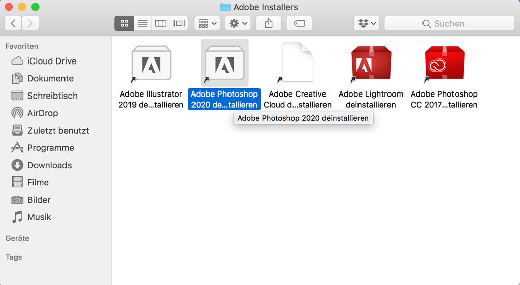 Photoshop deinstallieren auf Mac