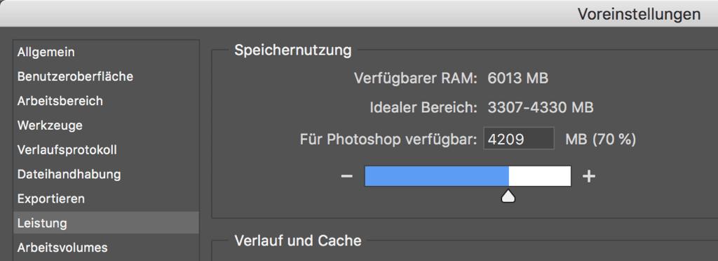 Photoshop Speichernutzung konfigurieren