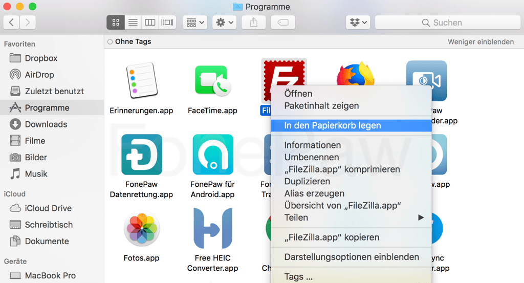 Mac Programm in den Papierkorb legen