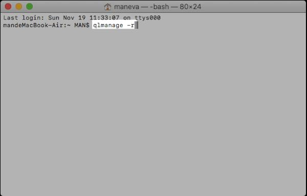 QLImageSize-Plugin mit Terminal aktivieren