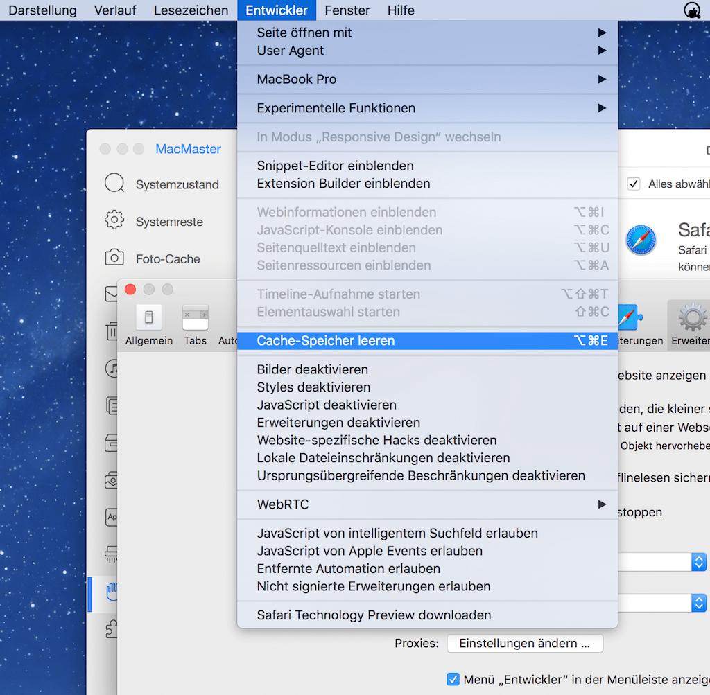 Cache vom Safari Browser löschen
