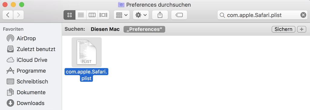Safari-Einstellungsdatei löschen