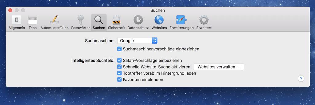 Ändern der Safari-Sucheinstellungen auf dem Mac