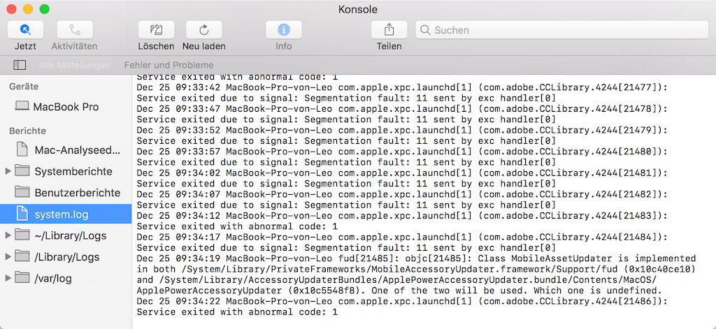 Mac Log-Dateien auslesen Konsole