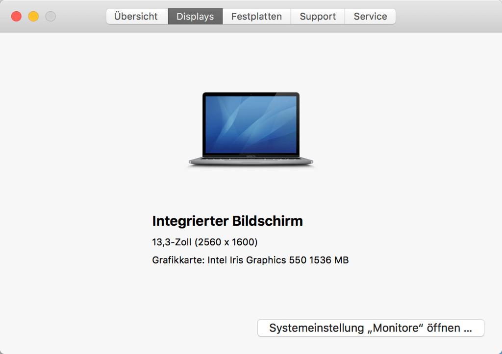 Über diesen Mac Displays