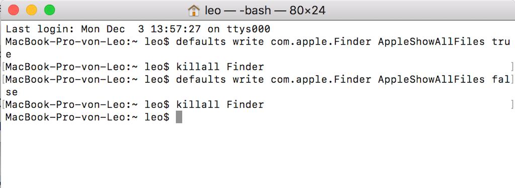 Versteckte Dateien anzeigen mit Terminal Mac