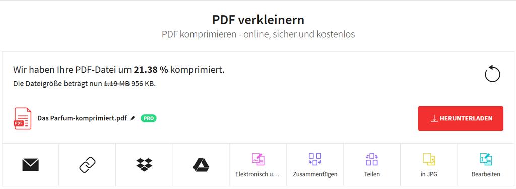 PDF-Komprimierung abgeschlossen Smallpdf
