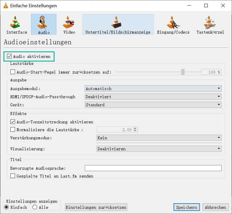Audio aktivieren VLC Player